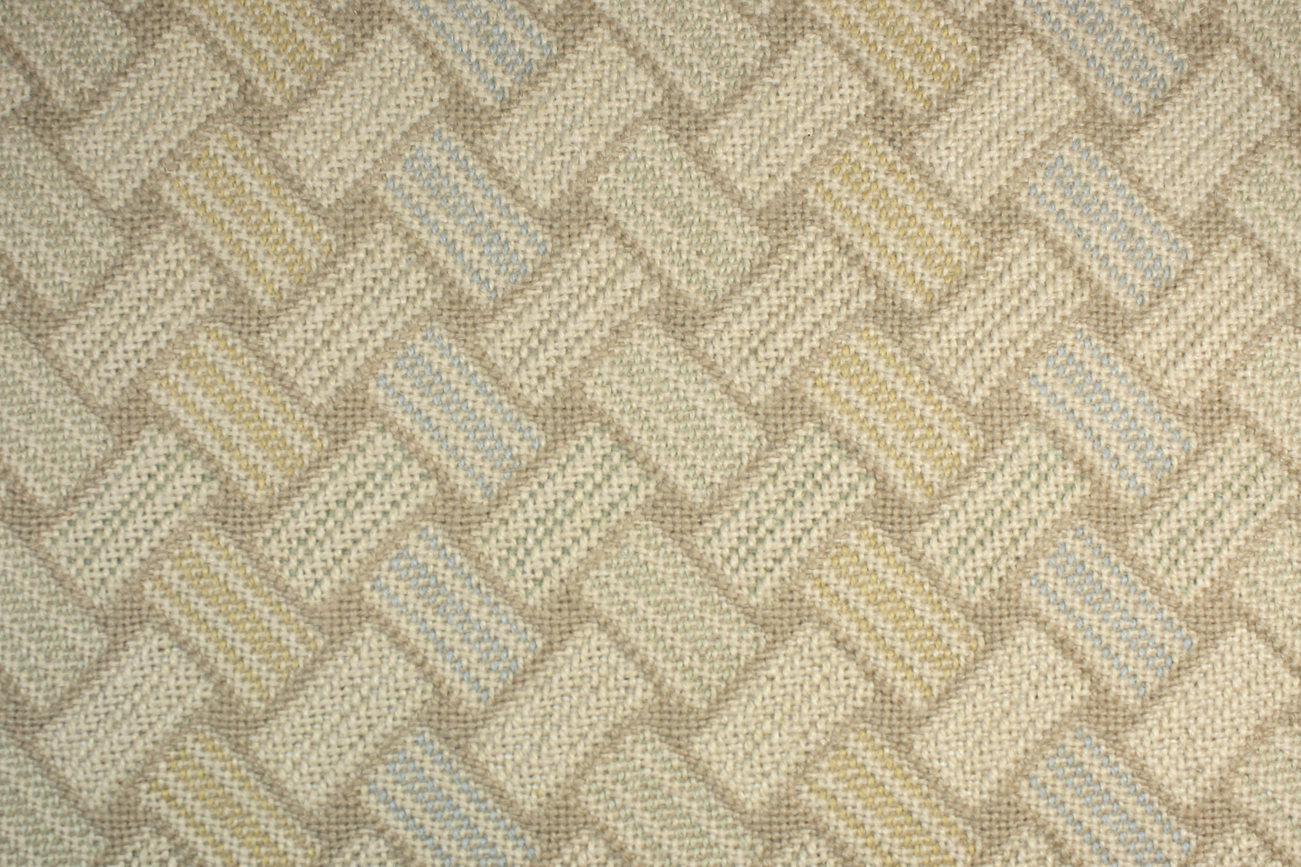 Triple Weave Blue Tan Pale Gold Basketweave Carpet